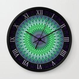 Mandala with light green and violet ornaments Wall Clock