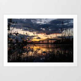 Sun sets on the bridge Art Print
