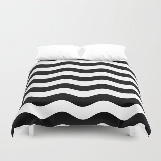 Wavy Stripes (Black/White) Duvet Cover