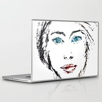 no face Laptop & iPad Skins featuring face by Artemio Studio