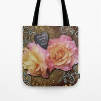 all you need is love Tote Bags featuring All You Need is Love by Joke Vermeer