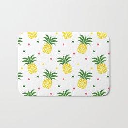 Tropical fruit sunshine yellow green pineapple polka dots Bath Mat