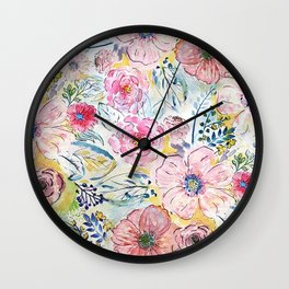 Watercolor hand paint floral design Wall Clock