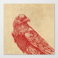 raven Canvas Prints featuring Red Raven  by Terry Fan