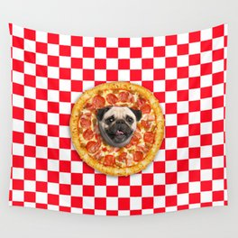 Pug Lover Pizza Wall Tapestry