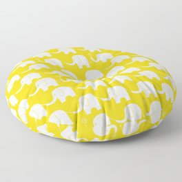 Elephant Parade on Yellow Floor Pillow