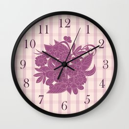 lines pattern with bouquet Wall Clock