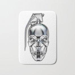 Skull grenade silver Bath Mat
