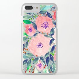 hand painted flowers_2c Clear iPhone Case