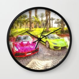 Dubai Super Cars Art Wall Clock