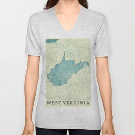 West Virginia State Map Blue Vintage Unisex V-Neck