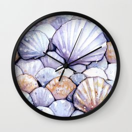 Sea Shells Amethyst Wall Clock