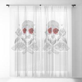 Skull, roses and guns Sheer Curtain