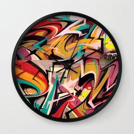 PAGER Graffiti Mural Royal Stain Wall Clock