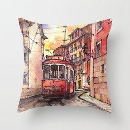 Lisbon ink & watercolor illustration Throw Pillow