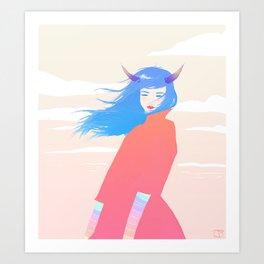 Girl with Horns Art Print