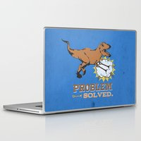 trex Laptop & iPad Skins featuring problem solved... trex with arms.. by studiomarshallarts