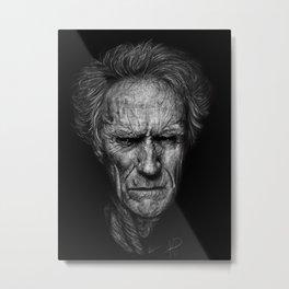 Clint Eastwood Portrait Metal Print