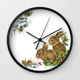 Winter in the forest - Animal Bunny Illustration Wall Clock