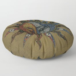 Vintage Celestial Mosaic Sun & Moon Floor Pillow