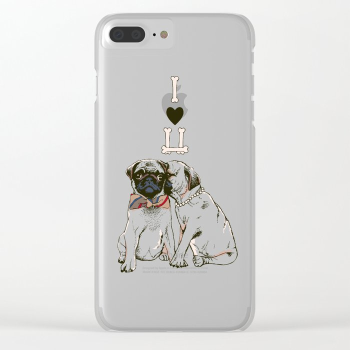 The Love of Pug Clear iPhone Case