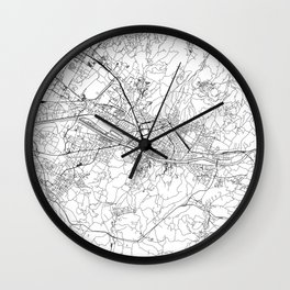 Florence White Map Wall Clock