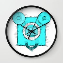 blue pig portrait geometric triangle pattern abstract Wall Clock