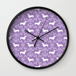 Dachshund purple florals pet portrait dog art dachsie doxie pet art dog breeds Wall Clock