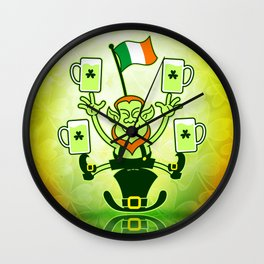 Leprechaun Juggling Beers and Irish Flag Wall Clock