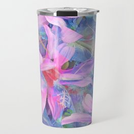 blooming pink and blue daisy flower abstract background Travel Mug