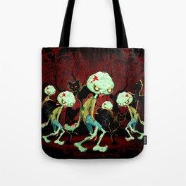 Zombie Creepy Monster Cartoon on Cemetery Tote Bag