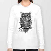 orange Long Sleeve T-shirts featuring Warrior Owl 2 by Rachel Caldwell