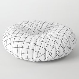 Abstract Diamond Grid Lines White and Black 12 Floor Pillow