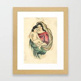 Vintage Tattoo Design with Madonna and Child Framed Art Print