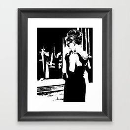 Audrey Hepburn in movie Breakfast at Tiffany's. Black and white portrait, monochrome stencil art Framed Art Print
