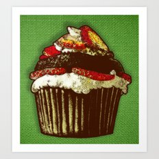 strawberry cake Art Print