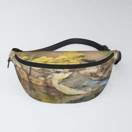 young bird bathes Fanny Pack