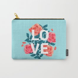 Love Typography with Floral Background Carry-All Pouch