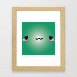 Kawaii Face (Green) Framed Art Print