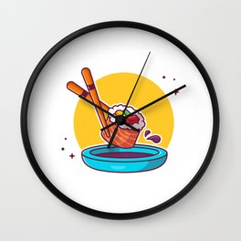 Sushi Chopstick Shoyu Cartoon Icon Illustration Japanese Food Icon Concept Isolated Flat Cartoon Sty Wall Clock