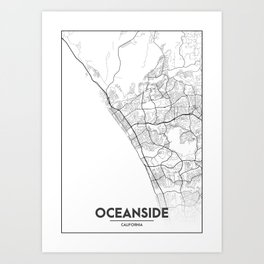 Minimal City Maps - Map Of Oceanside, California, United States Art Print
