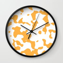Large Spots - White and Pastel Orange Wall Clock