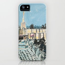 Atlanta Georgia LDS Temple Snowfall iPhone Case