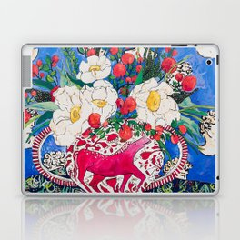 Horse Urn with Tiny Apples and Matilija Queen of California Poppies Floral Still Life Laptop & iPad Skin