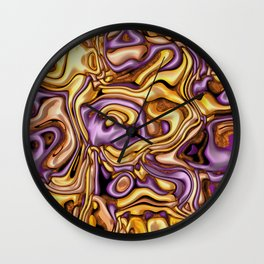 funky melted purple and gold Wall Clock