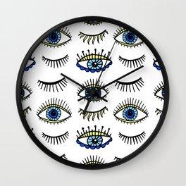 Evil Eyes Blue Yellow Lucky Charm Symbol Wall Clock