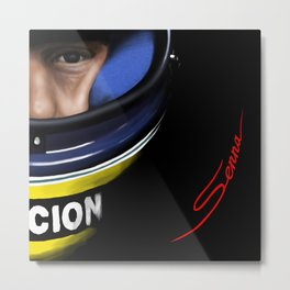 Senna Helmet Portrait Metal Print