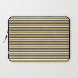 Faux Golden Glitter and Dark Grey Stripes Laptop Sleeve