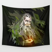 lord of the rings Wall Tapestries featuring THE LORD OF THE RINGS GANDALF by Graphic Craft