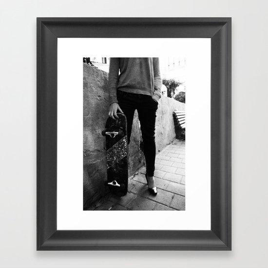 SkateBoard Girl Framed Art Print
